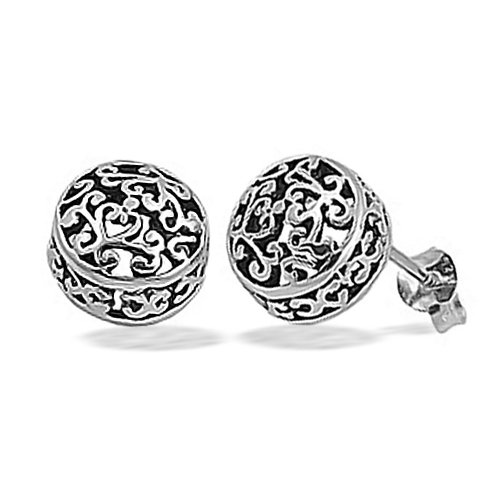 Bling Jewelry Sterling Silver Antique Filigree Bali Stud Earrings