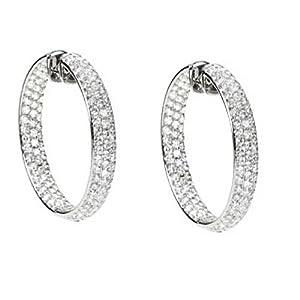 18K White Gold Diamond Inside/Outside Hoop Earrings - 8.50 Ct. -- LIFETIME WARRANTY