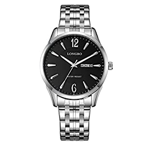 LONGBO Original Mens Stainless Steel Band Strap Business Numeral Analog Quartz Watches Auto Date Day Multifunction Couple Dress WristWatch