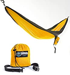 Double Parachute Camping Hammock with FREE Tree Straps by Youphoria Outdoors - Lightweight Nylon Compression Travel Hammock with Premium Wiregate Aluminum Carabiners. Orange/Gray Trim
