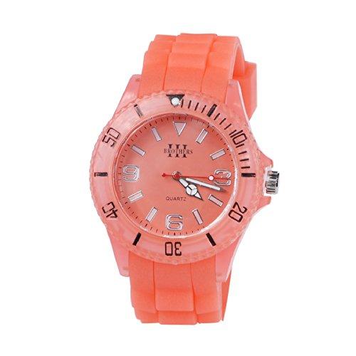 Neon Orange Silicone Glow In The Dark Watch