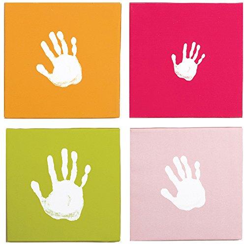 Pearhead Canvas Handprint Wall Art Set, Pink