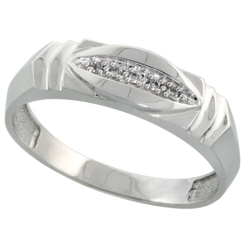 Sterling Silver Mens Diamond Wedding Band Ring 0.03 cttw Brilliant Cut, 1/4 inch 6mm wide, Size 13.5