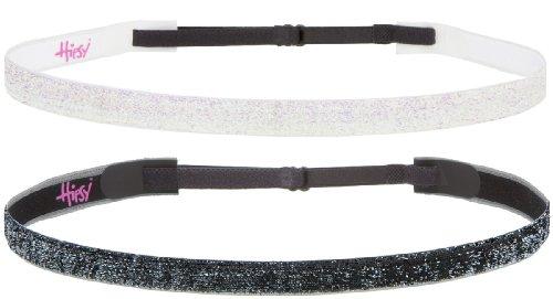 Hipsy Women'S Non-Slip Headband Adjustable Glitter 2Pk Gunmetal & Pearl