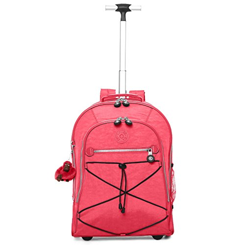 "Kipling Sausalito 18"" Wheeled Backpack With Free Kipling Foldable Cardboard Speaker (Vibrant Pink)"