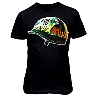 9022 FULL METAL JACKET 1 T-SHiRT army vintage retro helmet hero war face kubrick (Medium, Black)