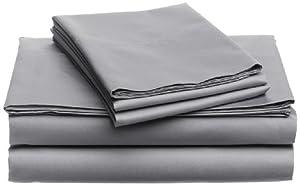 Pinzon Hemstitch 400-Thread-Count Egyptian Cotton Sateen Sheet Set, Queen, Light Grey