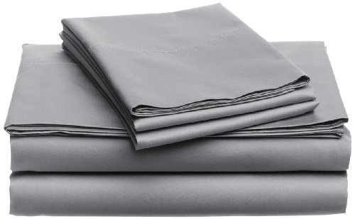 Lowest Prices! Pinzon Hemstitch 400-Thread-Count Egyptian Cotton Sateen Sheet Set, Queen, Light Grey
