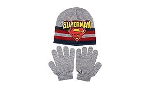 DC COMICS Conjunto Gorro y Guantes Superman Stripe (Gris)