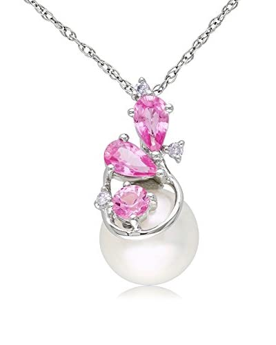 Michiko 10K White Gold Pendant with Chain with Diamond, Pink Sapphire, & 8.5-9mm White Freshwate...