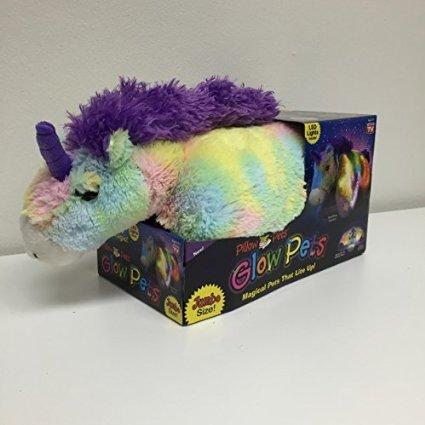 "Pillow Pets Glow Pets Rainbow Unicorn 18"" Jumbo - 1"