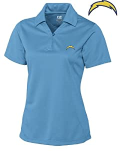San Diego Chargers Ladies Ladies Drytec Genre Polo Sea Blue by Cutter & Buck