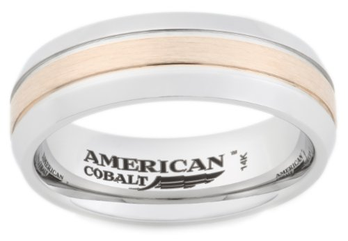 American Cobalt 7mm Men's Band with a 14k Yellow Gold Satin Center, Size 8.5