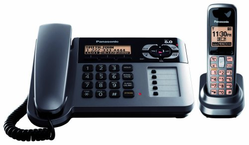 Panasonic Dect 6.0 Metallic Gray Cordless/Corded Phone with Answering Machine (KX-TG1061M)