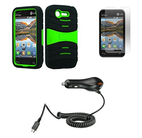 Lg Optimus Fuel / L34C (Straight Talk, Tracfone, Net 10) - Black & Neon Green Symbiosis Stormer Impact Shockproof Armor Kickstand Case Cover + Atom Led Keychain Light + Screen Protector Guard + 1A (1100 Mah Output) Micro Usb Car Charger