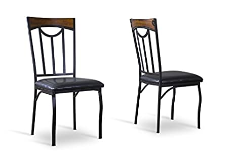 Lancaster Wood and Metal Contemporary Dining chair with Chanasya Polish Cloth Bundle (Set of Four)