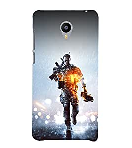 printtech Game Battle Soldier Back Case Cover for meizu m2