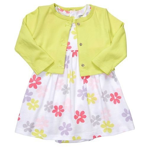 Carters Girls Newborn 9 Months Lime 2 Piece Dress Set (6 Months, Lime)