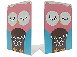 One Pair Cute Cartoon Funny Coloful Owls Thickening Iron Library School Office Home Study Metal Bookends Book End Kids Gifts (Red)