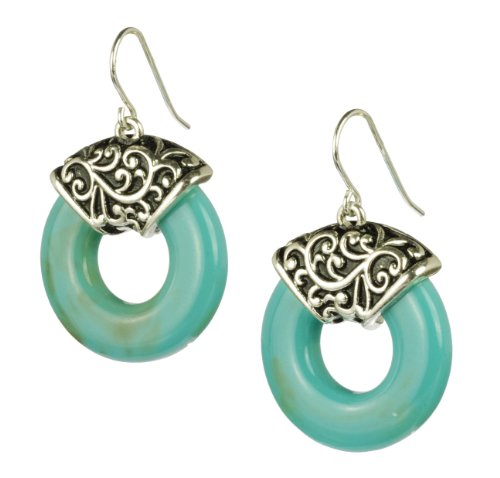 Turquoise Color Glass Ring and Cast Metal Earrings