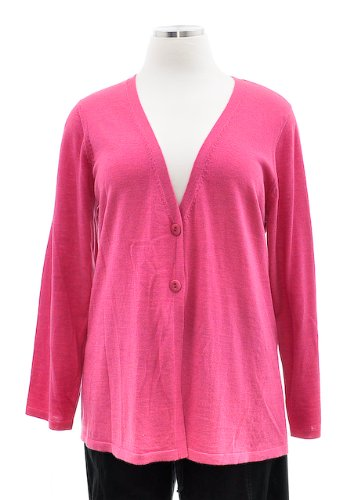 Eileen Fisher Peony Pink Merino Jersey Simple Long Sleeve V-Neck Cardigan Sweater 2X