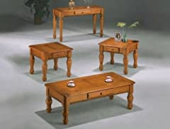 3 pc Pine finish wood coffee and end table set with turned legs and drawers