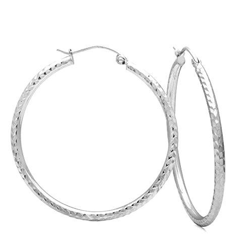 1.5Mm 14K White Gold Diamond Cut Tube Hoop Earrings For Children & Women, Earring Diameter: 1 2/8 Inches