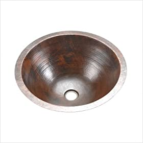 Premier Round Under Counter Hammered Copper Sink LR17FDB