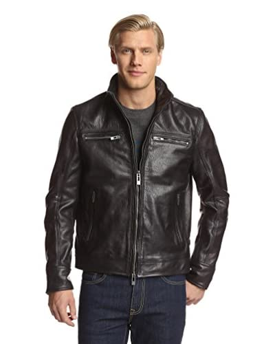 Rogue Men's Leather Jacket with Wire Collar