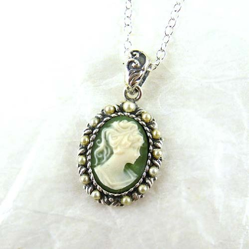 Pearl Halo and Sage Green Cameo Necklace