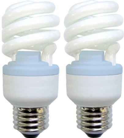 Ge Lighting 75409 Reveal Spiral Cfl 10-Watt (40-Watt Replacement) 450-Lumen T3 Spiral Light Bulb With Medium Base, 2-Pack front-752493