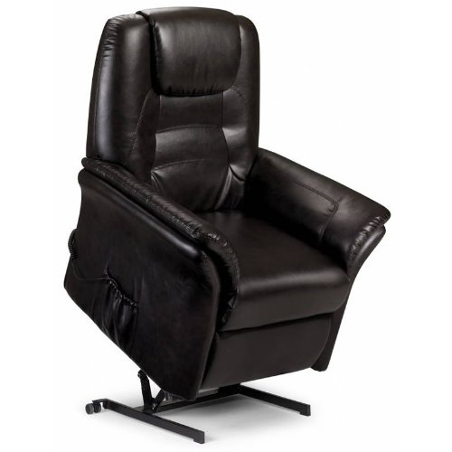 Electric Riser Recliner Armchair - Dark Brown - Faux Leather - Padded Headrest