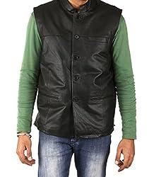 Shagoon Emporium Men's Leather WaistCoat(sh8000_Black_Small)