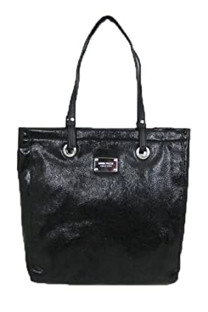 Nine West Tote'Em Large Crinkled Patent Tote, Color Black/Black