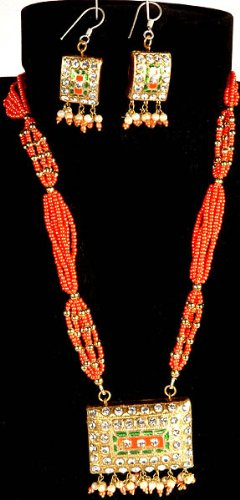 Salmon Bridal Necklace and Earrings - Lacquer with Crystal