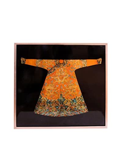 Asian Loft Framed Kimono, Black/Orange/Red/Gold/Blue