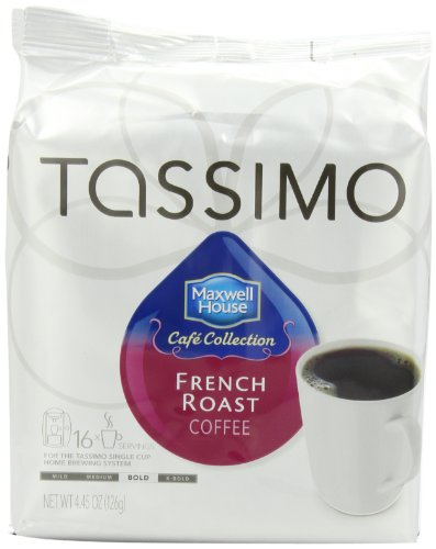 Maxwell House Cafe Collection French Roast Coffee, T-Discs for Tassimo Coffeemakers, 4.45 ounce, 16-Count Packages (Pack of 5) (French Roast Coffee Maker compare prices)