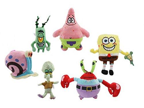 6PCS Spongebob Set Stuffed Plush SpongeBob/Patrick/Crab/Plankton/Octopus/Snail Dolls Kids Toys Best For Children panenka figurka hrdiny