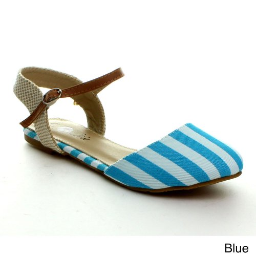 Machi FAITH-5 Women Close Toe Buckle Ankle Strap Multi Stripe Color Sandal Flat