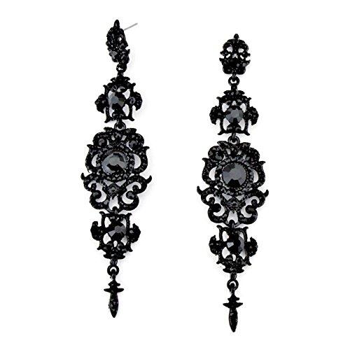 Luxus-Feine-Statement-lange-Ohrringe-Hochzeit-ABI-Brautschmuck-Kristall-Schwarz-11cm-lang