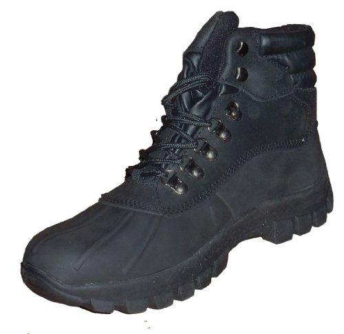 KINGSHOW Men Warm Waterproof Winter Snow Leather Boots BLACK US Size:10