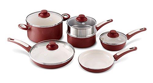 GreenPan Focus 10 Piece Aluminum Non-Stick Ceramic Cookware Set, Burgundy (Aluminum Ceramic Cookware compare prices)