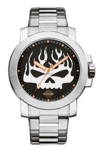 Harley-Davidson Mens Bulova Skull Wrist Watch 76A138