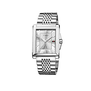 Gucci Men's YA138403 Gucci G-Timeless Rectangle Analog Display Swiss Quartz Silver Watch