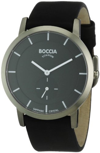Boccia Men's Titanium Leather Strap Watch B3540-02
