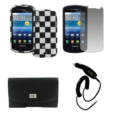 Samsung Stratosphere Schwarz Ledertasche Case Pouch with Belt Clip and Belt Loops Gummierte Snap-On Hartschale Tasche Hülle Schutzhülle Schwarz and Weiß Checkered Displayschutz Folie Chargeur de Voiture CLA EMPIRE Packaging