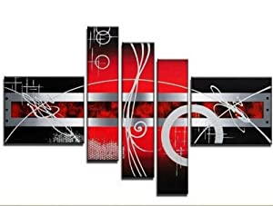 100% Hand Painted Art 5 Piece Wall Art Red Art Abstract Oil Painting