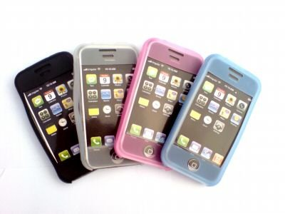 4 BOX SET - IPOD iPHONE   SILICON SKIN CASE - BLACK PINK WHITE BLUE