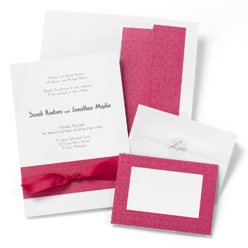 Hortense B. Hewitt Wedding Accessories Print Yourself Invitation Kit, Fuchsia Band, Pack of 50