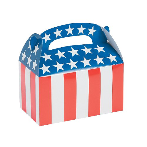 1 Dozen - Paper Patriotic Flag Treat Boxes - 4th of July Independance Day!
